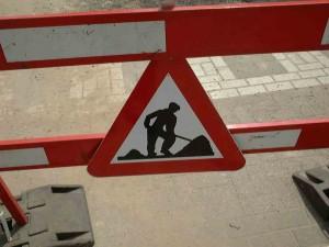 Wegenwerken verbodsbord Persregio Dender