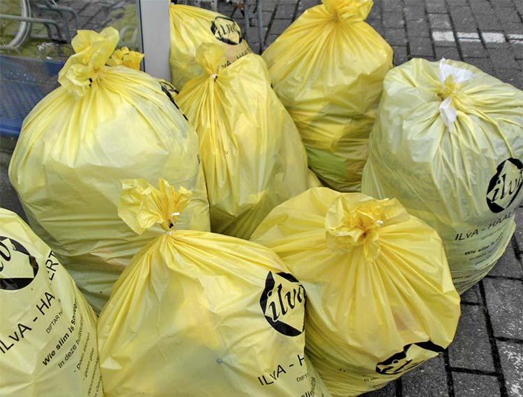 Afbeeldingsresultaat voor gele vuilniszakken