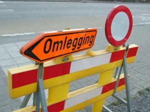 Omleiding bord wegenwerken Persregio Dender