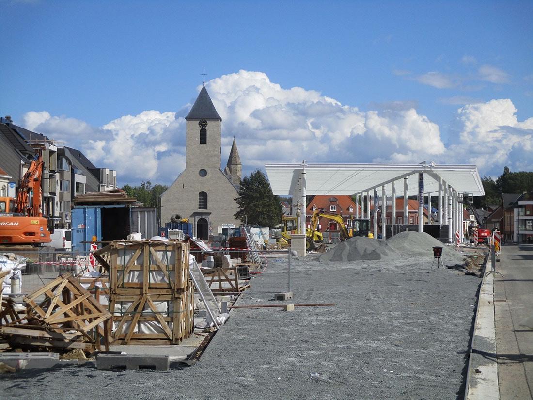 Sint Lievens Houtem Opbouw Overdekte Markt Persregio Dender