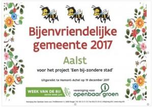 Bijenvriendelijke gemeente Aalst certificaat Persregio Dender